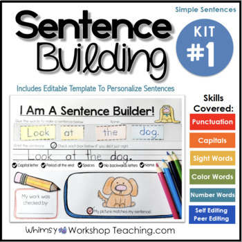 Sentence Building Kit 1 - Self-Editing Sight Word Sentences ( Editable )