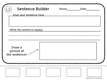 Sentence Builder Leveled - Editable!