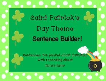 Sentence Builder Saint Patrick's Day Theme with recording sheet