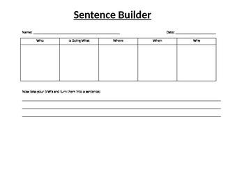 Sentence Builder Using 5 W's