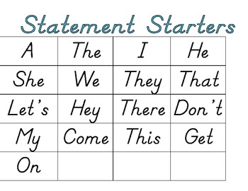Sentence Builders Activity Cards