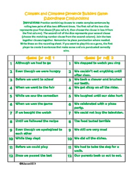 Sentence Builders Activity: compound and complex sentences using dice
