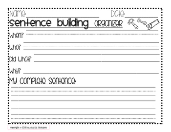 Sentence Builders- Leveled Graphic Organizers- FREEBIE!