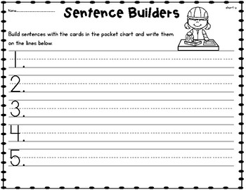Sentence Builders SHORT U