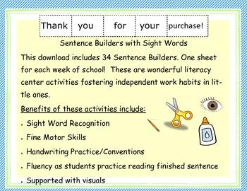 Sentence Builders: Sight Words Set 1