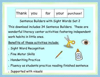 Sentence Builders: Sight Words Set 2