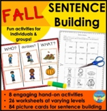 Sentence Building Activities & WH Questions with Pictures: Fall!