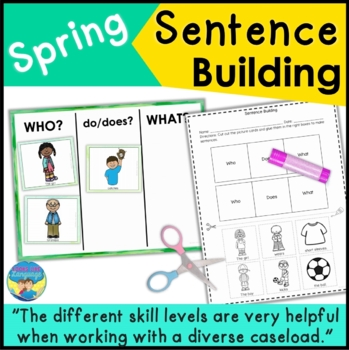 Sentence Building & WH Questions with Pictures: Spring!