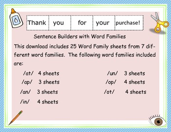 Sentence Builders With Word Families: Set 1