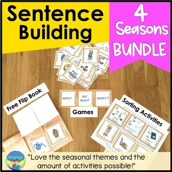 Sentence Building Picture Activities and Worksheets   Seasons Bundle