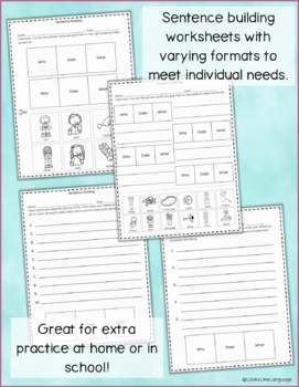 Sentence Building with Pictures: Summer! Activities, Games & Picture Worksheets