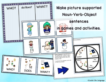 Sentence Building Activities & WH Questions with Pictures: Winter!