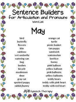 Sentence Builders for Articulation & Pronouns - Spring Edition