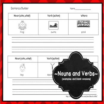 Verbs and Nouns Sentence Builder