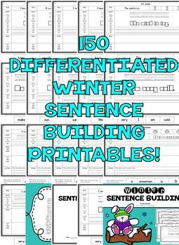 Kindergarten Sentence Building - First Grade Sentence Building Worksheets WINTER