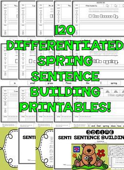 Kindergarten Sentence Building - First Grade Sentence Building Worksheets BUNDLE