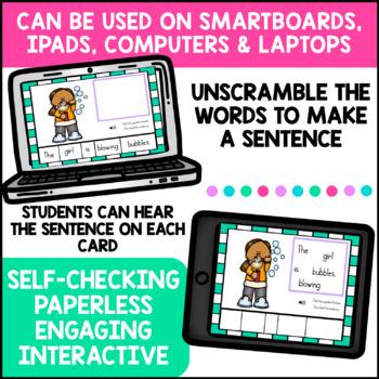 Sentence Building BOOM CARDS Digital Task Cards