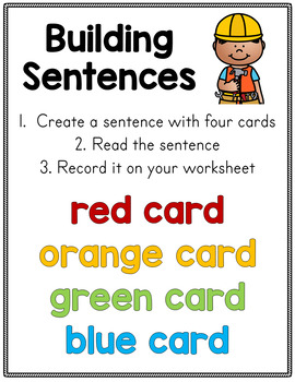 Sentence Building Cards
