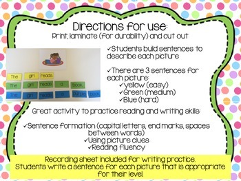 Sentence Building Center Set 2