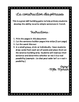 Sentence Building (En Français)