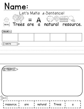 Natural Resouces Sentence Building Freebie!!