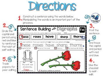 Sentence Building Kit 4 - Interactive Writing with Blends