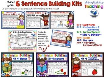 Sentence Building Kits Sampler 2 (Kits 4, 5, 6) Whimsy Workshop Teaching