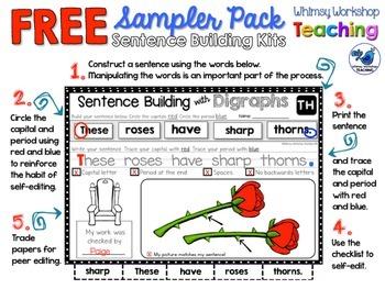 Sentence Building Kits Sampler 2 (Kits 4, 5, 6) Whimsy Wor