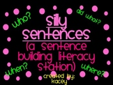 Sentence Building Literacy Station
