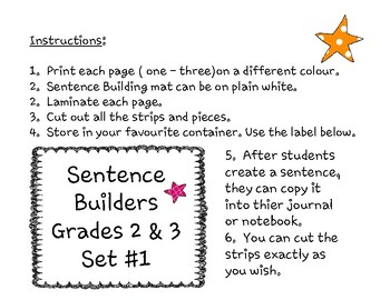 Sentence Building & Mat for Grades 2 & 3