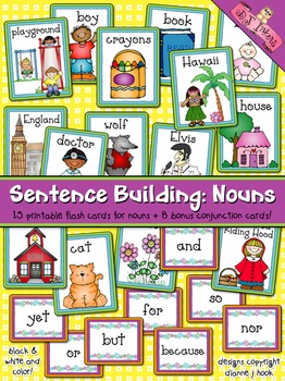 Sentence Building: Nouns Flash Cards