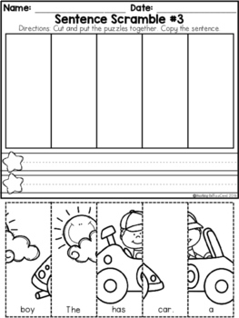 Kindergarten Sentence Building Set 2 By Teaching Biilfizzcend Tpt - View Sentence Building Worksheets For Kindergarten Pdf Background