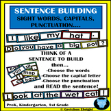 Sentence Building Task Cards - Sight Words, Capitals, Punctuation