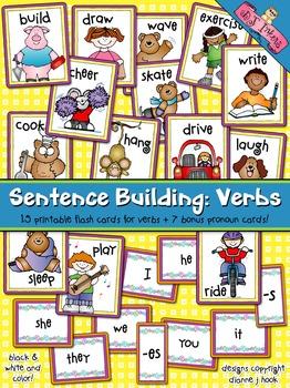 Sentence Building: Verbs Flash Cards