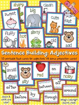 Sentence Building: Adjectives Flash Cards