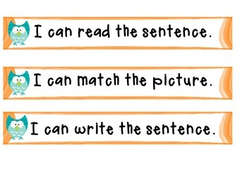 Sentence Building: Word Work White Board and Pocket Chart Directions