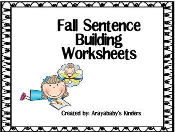 Sentence Building Worksheets- Autumn