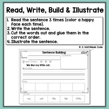 Sentence Building Worksheets