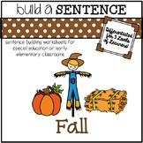 Sentence Building Worksheets for Special Ed: Fall Theme