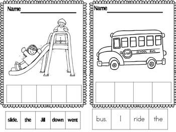 Sentence Building Worksheets (school themed)