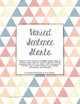 Sentence Building & Writing - Varied Sentence Starts