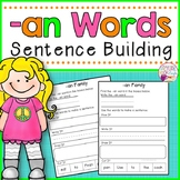 Sentence Building -an Family CVC Words