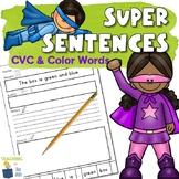 Sentence Building and Writing Sentences Worksheets | CVC a
