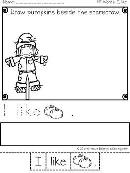 Sentence Building Sight Word Printables