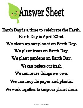 Sentence Building for Little Learners- Earth Day
