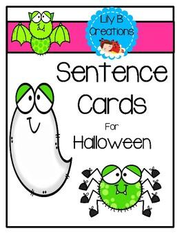 Sentence Cards For Halloween