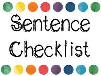 Sentence Checklist Anchor Chart - Print, Cut, Glue, & DONE!