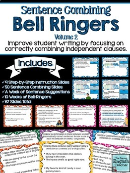 Sentence Combining Bell Ringers for Secondary English {Volume 2}
