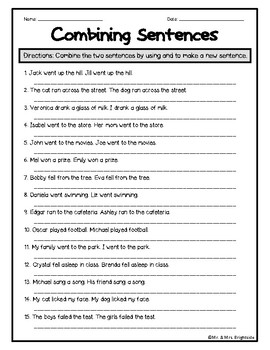 Sentence Combining Worksheet by Mr and Mrs Brightside | TpT