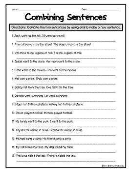 Combining Sentences Worksheet | Teachers Pay Teachers